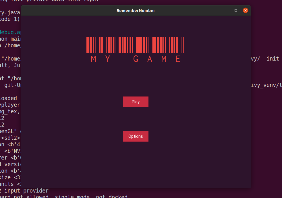 Title screen of my app