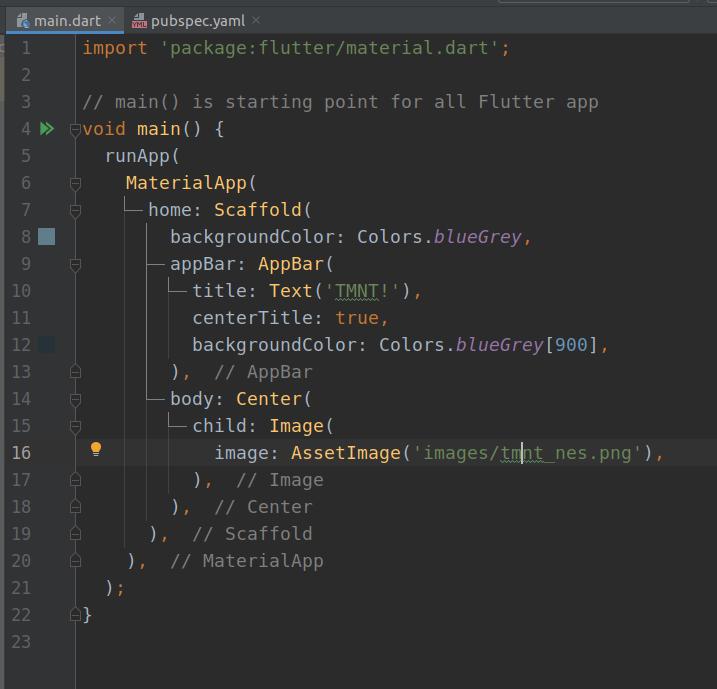 Flutter code example
